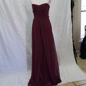 Bridesmaid strapless gown maroon